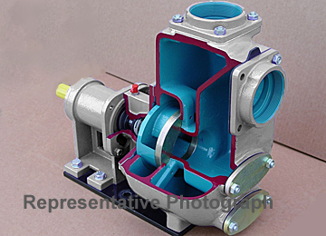 self-priming belt-drive centrifugal pump cutaway
